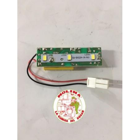 Circuíto-tarjeta electrónica Led-alumbrado frigorífico Candy, 6,5x2 cm.
